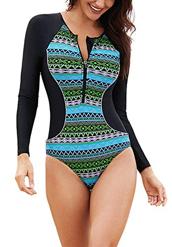- ENLACHIC Women's Tribal Printed Long Sleeve One Piece Swimsuit Zip Front UV Protection Rashguard,Green,XXL