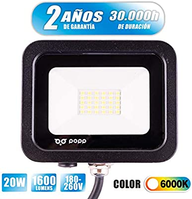 POPP® juegos de 5 y 10 Floodlight Led Foco Proyector Led 10w 20w 30w para Exterior Iluminación Decoración 6000k luz fria Impermeable IP65 Negro y Resistente al agua. (Focos 20 Watios, 1