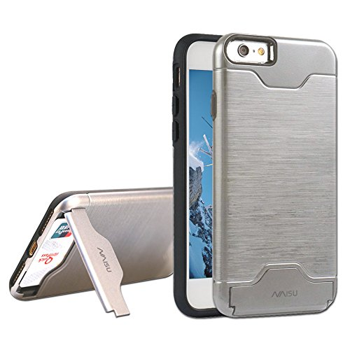 NAISU Card Slot Holder Kickstand Dual Layer Hybrid Protective Case with Brush Finish Back Cover for Apple iPhone 6 / 6S (4.7 Inch)-Silver Gray ()