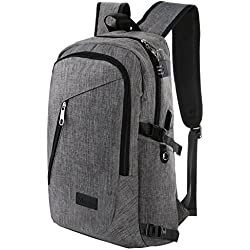 Mancro Business Water Resistant Polyester Laptop Backpack with USB Charging Port and Lock Fits Under 17-Inch Laptop and Notebook, Grey