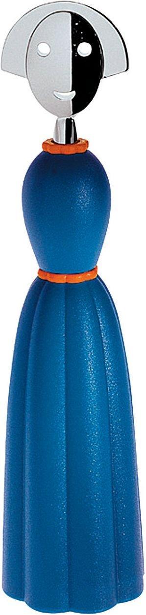 Alessi Pepper Pfeffermühle blau, verchromter Zamak, 11.8 x 31.5 x 17.2 cm