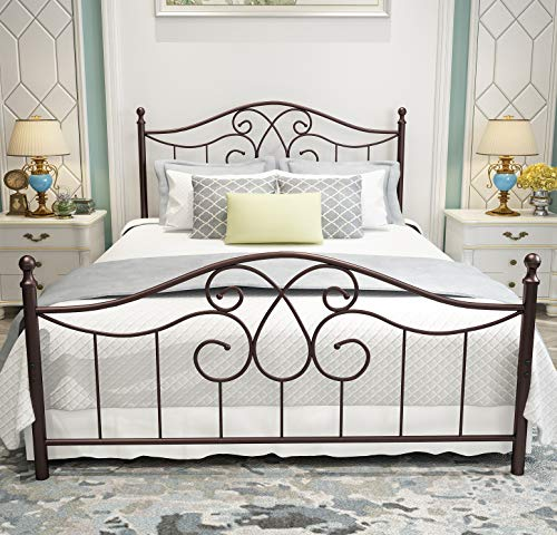 Vintage Sturdy Metal Bed Frame Queen Size with Vintage Headboard and Footboard Platform Base Bed Frame No Box Spring Needed Steel Bed,Antique Brown,Queen. (Metal Antique Headboards)