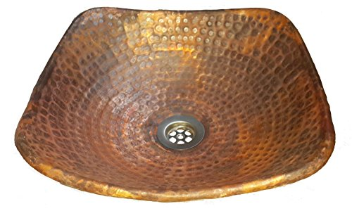 Egypt gift shops Handmade Small Hammered Square Pure Solid Copper Vessel Bathroom Sink