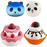 WATINC Random 3pcs Jumbo Strawberry Ice Cream&Three Cakes with panda Squishes Stress Relief Soft Toy Slow Rising Squeeze Toys(Strawberry Ice Cream&Three Cakes)
