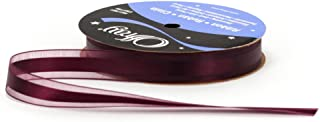 product image for Offray Garbo Satin and Sheer Craft Ribbon, 5/8-Inch Wide by 20-Yard Spool, Eggplant