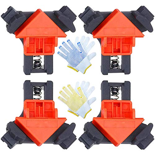 90 Degree Right Angle Corner Clamp 4PCS Adjustable Single Handle Spring Loaded Right Angle Clamp, Woodworking Clamps for Welding, Boxes, Making Picture Frames With 2 Pairs Gloves