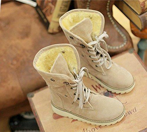 Zapatos Botines Mujer Plano De Botas Beige Nieve Invierno De Casual Minetom Piel Botas Calentar Rx47x