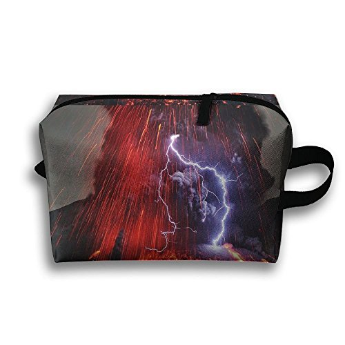 Unisex Tourist Bag Nature Landscape Volcano Lava Eruption Volcanic Eruption Lightning Long Exposure Smoke Hawaii USA Toiletry Bag Sundry Bag by Lqzdqa