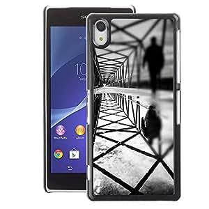 A-type Arte & diseño plástico duro Fundas Cover Cubre Hard Case Cover para Sony Xperia Z2 (Architecture Deep Dark Meaning Black)