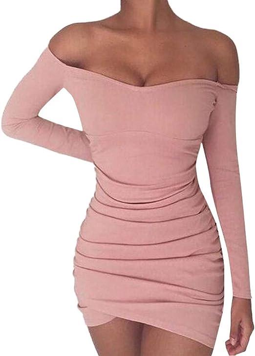 Flyshow seksowna sukienka z dekoltem w kształcie litery V, z długim rękawem, podkreślająca figurę, do kolan, elegancka, bez ramiączek, krÓtka, jednokolorowa, Slim: Odzież