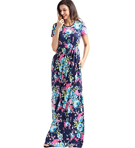 Dreamsoar Neck White Summer Womens Short Floral Empire Blue1 Casual Round Dress Maxi Sleeve Design Pocket rqBrwf4x