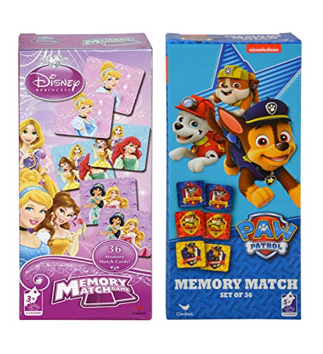 Mozlly Value Pack - Disney Princess and Nickelodeon Paw Patrol Memory Match Games - 2 to 4 Players, No Reading Needed, Builds Memory Skills - Childrens Early Development Toys (36pc Sets) (2 Items)