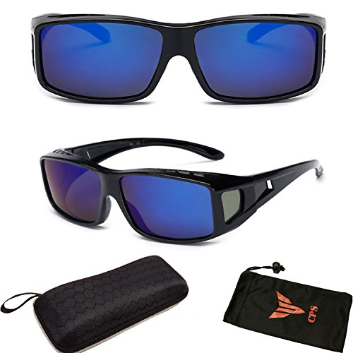 (#FTOVR Blu) 1 Pair Polarized Lenses RX Men Women Fit Over Cover Glasses Sunglasses + Free Hard - Prescription Polarized Discount Sunglasses