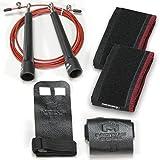 Motus Edge CrossFit Starter Kit - Palm Grips, Wrist Wraps, Speed Jump Rope - Handy Carry Bag