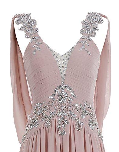 Back Prom Rhinestones Evening Dress Chiffon with V ALAGIRLS Black Long Beaded Dress Train n18BxZ