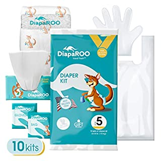DiapaROO Disposable Baby Diaper Changing Kit – Perfect for Travel, Ultra Absorbent, 10 Count - Size 3
