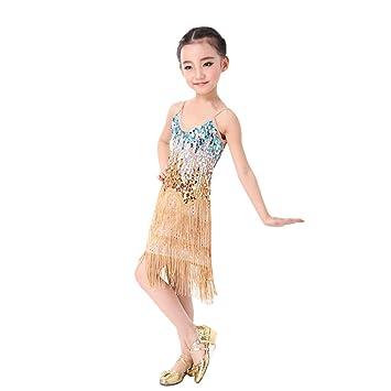 Huicai Niños Chica Baile latino Vestidos Lentejuelas Borla Rendimiento de la etapa Juegos Disfraz de baile