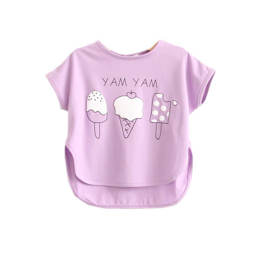 Kawaii Baby Girls Pastel Ice Cream Printed Lavender Tees