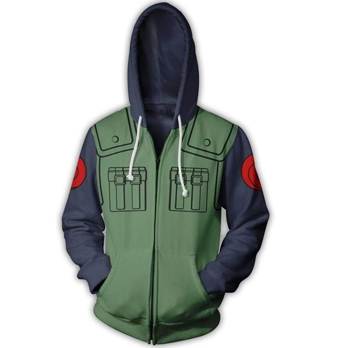 NSOKing Hot Anime 3D Hatake Kakashi Cosplay Costume Jacket Coat Hoodie (Large, Green) by NSOKing