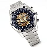 Lancardo Luxury Black Dial Automatic Winding Mechanical Skeleton Wrist Watches for Men Boys with Gift Bag