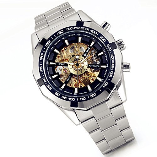 Mens Automatic Winding Black Dial - Lancardo Luxury Black Dial Automatic Winding Mechanical Skeleton Wrist Watches for Men Boys with Gift Bag
