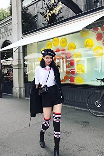 Generic Zhang day love with paragraph knee socks new autumn and winter boots flat stretch wool long-barreled boots European Grand (Grand Prix Boots)