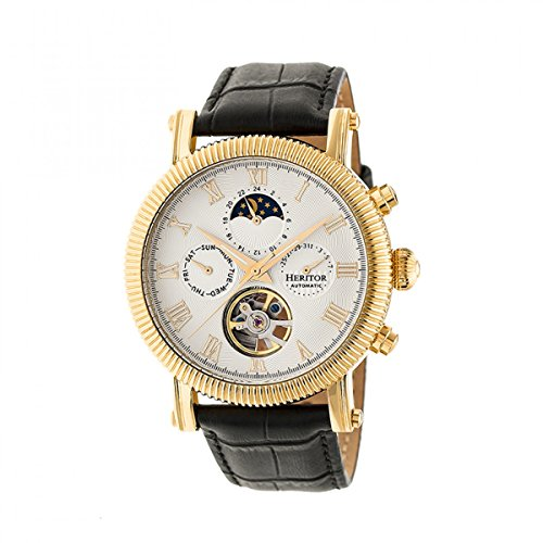 Heritor Automatic HERHR5203 Winston Black/Gold/White Leather Band Watch