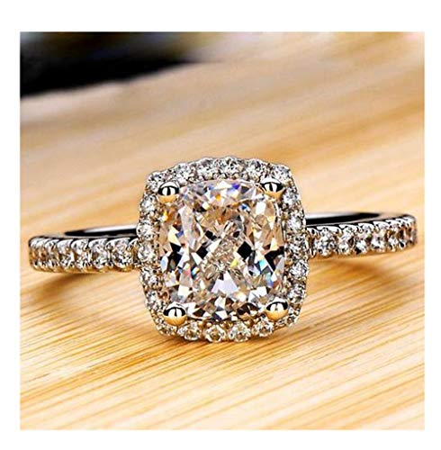 (Women Ring Cubic Zirconia Simulated Diamond Anniversary Promise Wedding Band Engagement Ring Bridal Wedding Ring (Silver6))