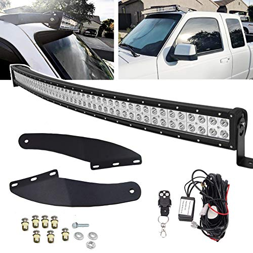 50'' 288W Curved LED Light Bar Kit & Upper Roof Windshield Mounting Brackets w/Remote Wiring For 1993-2011 Ford Ranger Models - Ford Ranger Light Bar