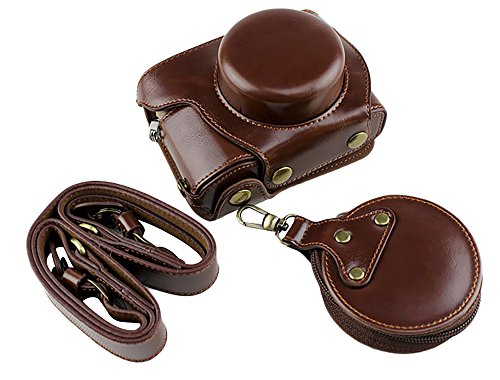 Protective Olympus Case - Bottom Opening Version Protective PU Leather Camera Case Bag for Olympus Pen Lite E-PL9 EPL9 with 14-42mm EZ F3.5-5.6 Lens Dark Brown