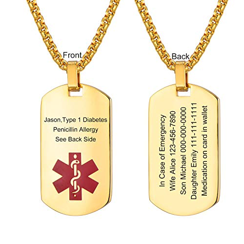 LMXXV Custom Horizontal Engraved Medical Emergency Alert ID Gold Plated Stainless Steel Dog Tag Pendant Necklace Custom Engraved Medical Id Tag