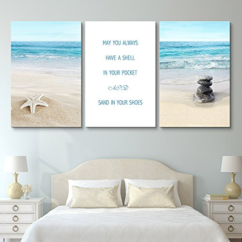 3 Panel Tropical Beach Landscape with Inspirational Quotes Gallery x 3 Panels