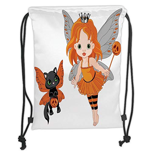 Custom Printed Drawstring Sack Backpacks Bags,Halloween,Halloween Baby Fairy and Her Cat in Costumes Butterflies Girls Kids Room Decor Decorative,Multicolor Soft Satin,5 Liter Capacity,Adjustable Stri -