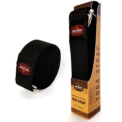 Niradhi Herbals Yoga Strap with D-Ring - 6ft/8ft/10ft - 7 Colors - Premium Quality Soft & Durable Cotton with Niradhi Happiness Protection (Black, 10 ft)