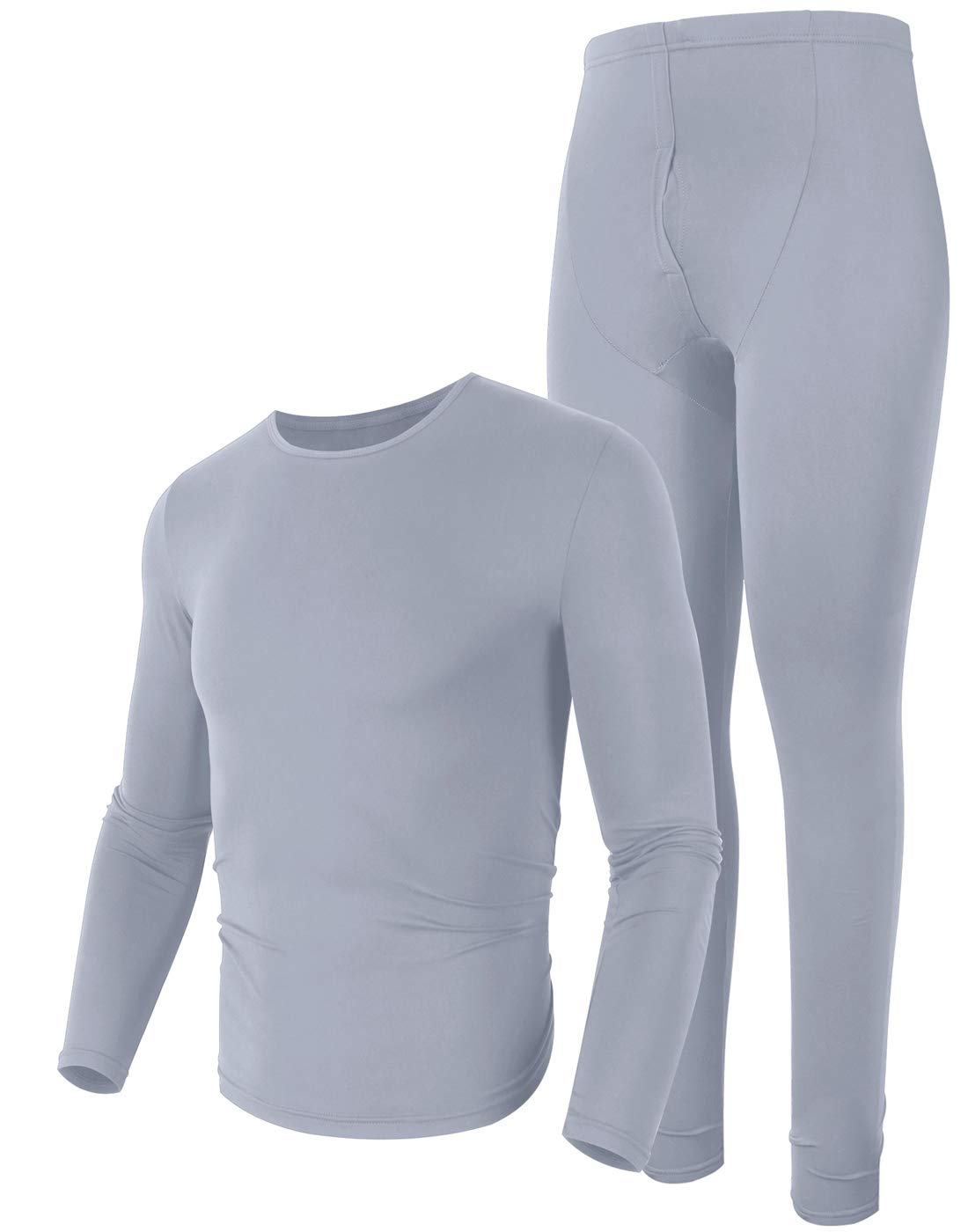 poriff Men Tall Long Underwear Soft Thermal Shirts Insulared Underwear Ultra Thin Thermal Grey S by poriff