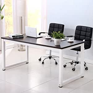 OFFICE MORE Computer Desk Wood PC Laptop Table Workstation Study Home Office Furniture(Black)