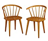 Target Marketing Systems Set of 2 Florence Dining Chairs with Low Windsor Spindle Back, Set of 2, Oak
