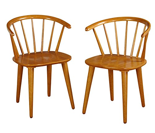 Spindle Back Windsor Chair (Target Marketing Systems Set of 2 Florence Dining Chairs with Low Windsor Spindle Back, Set of 2, Oak)