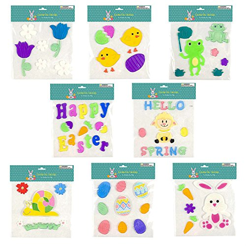 Easter & Spring Window Gel Cling Decorations - 8 Sheet Sets - Easter Eggs, Bunnies, Frogs, Flowers, Snails, Lamb, Happy Easter and Hello Spring Designs