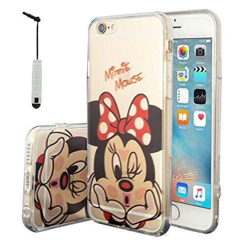 VComp-Shop® Transparente Silikon TPU Handy Schutzhülle mit Motiv Cartoon Disney für Apple iPhone 6/ 6s + Mini Eingabestift - Minnie Mouse
