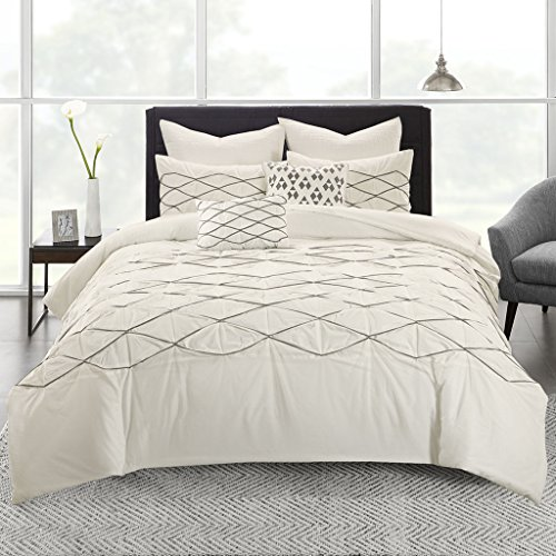 Urban Habitat Sunita King/Cal King Size Bed Comforter Set Bed in A Bag - White, Embroidered  7 Pieces Bedding Sets  Cotton Bedroom Comforters