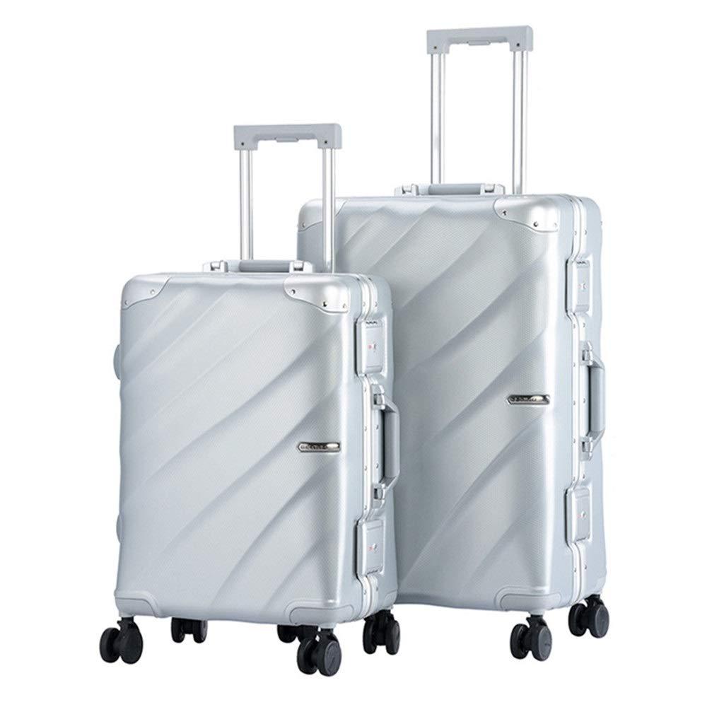 スーツケース TSAロックローテーターハードシェル軽量キット付きキャリーコラムサイレントローテーター多方向ホイール男性と女性の旅行登録付き防水ラゲッジケース あなたとスーツケースを持っていく (色 : 銀, サイズ : 20in+24in) B07STZKWB6 銀 20in+24in