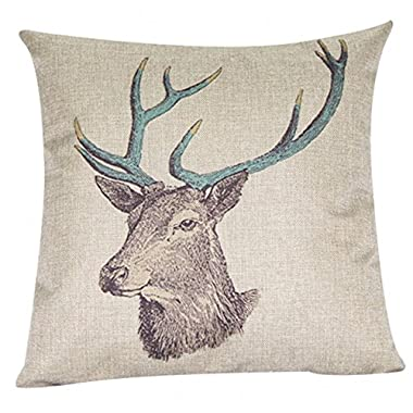 Decorbox Cotton Linen Decorative Throw Pillow Case Cushion Cover (Deer) 18  X18