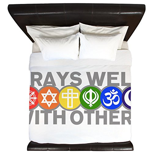 King Duvet Cover Prays Well With Others Peace Symbol by Royal Lion