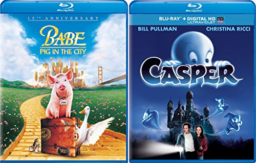 Casper The Friendly Ghost & Babe: Pig in the City Blu Ray 2 Movie Combo Family 15th Anniversary animal kid fun set