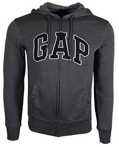 Gap Mens Fleece Arch Logo Full Zip Hoodie  Xx Large  Grey  Navy Logo