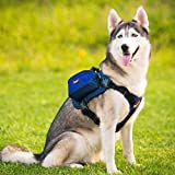 Paw Essentials Adjustable Saddle Bag Dog Backpack Carrier with Harness for Medium to Large Dogs for Traveling, Hiking and Camping (Blue, Xtra Large - neck:21.3 - 30 inches, chest:29 - 47 inches)