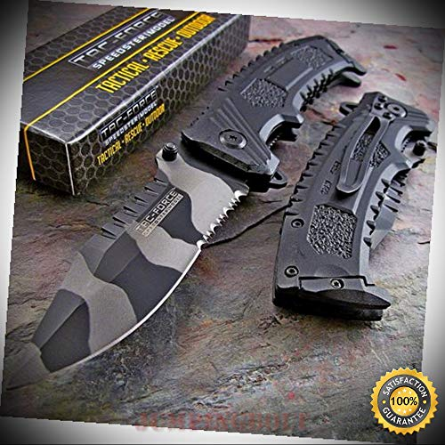 Urban CAMO Sawback CLIP POINT Spring Assisted Opening Sharp Knife - Premium Quality Hunting Very Sharp EMT EDC