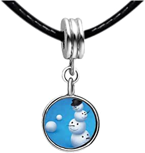 Chicforest Silver Plated Cute Accumulation Of The Snowman Photo Topaz Crystal November Birthstone Flower dangle Charm Beads Fits Pandora Charm