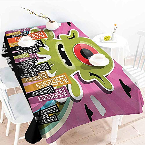 Party Table Cloth,Outer Space Decor,Funny Giant Big One Eyed Monster City Urban Danger Attack Invasion Clip Design,Multi 50